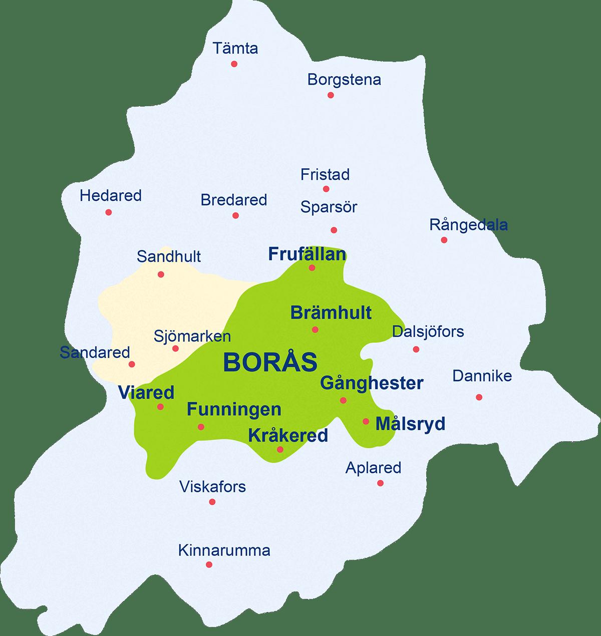 Karta över de områden i Borås kommun där vi äger elnätet.